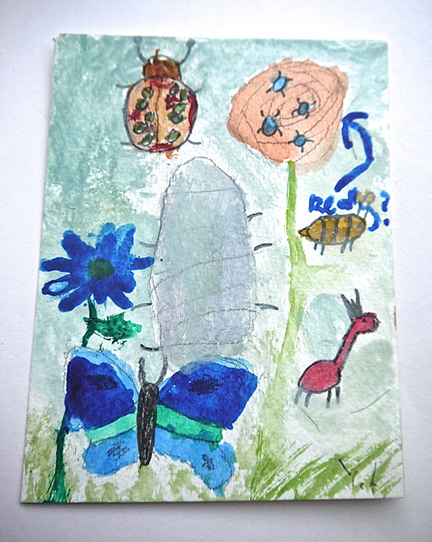 Painting of an anxious butterfly, Rose and Termites by Yasmin
