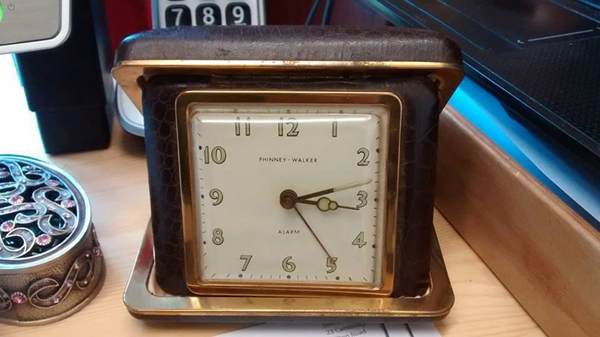 Image of a 1930s Phinney-Walker Travel Alarm Clock