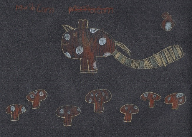The 'mushcorn' (mushroom x unicorn) with babies (Ella)
