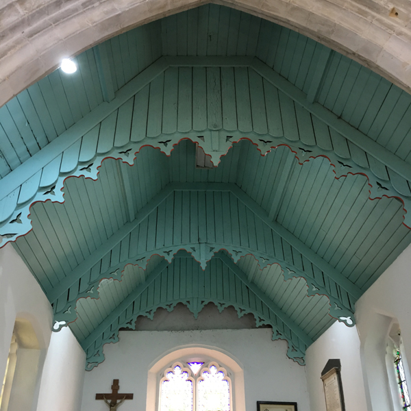 Image of the ceiling of the church - looking for signs of bats in All Saints Church