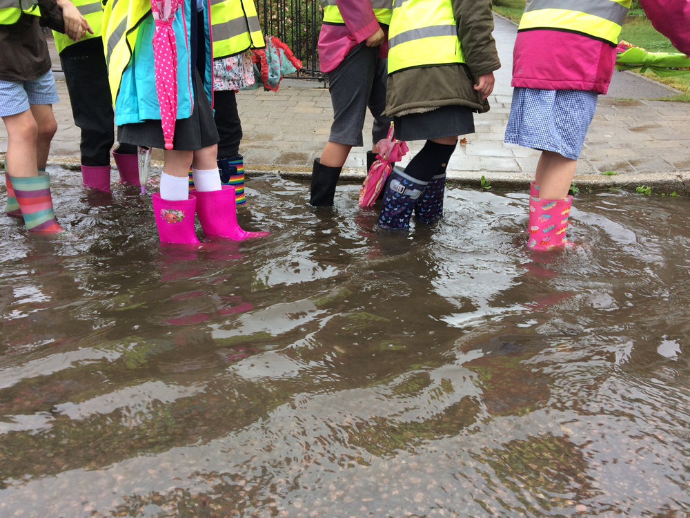 It was very very very deep - image of children in wading in wellies