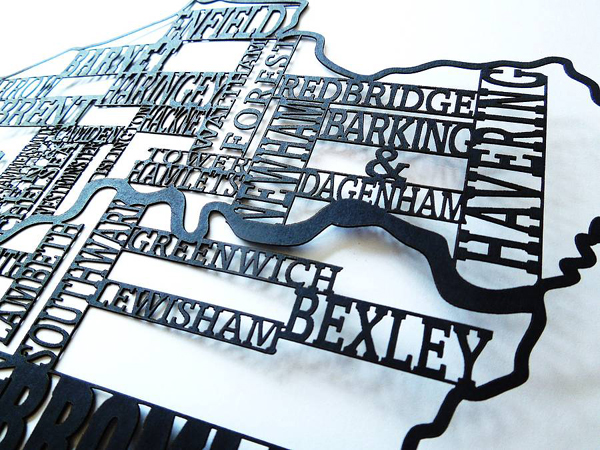 Original london typography laser cut framed map