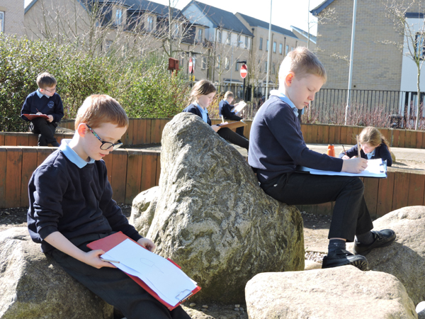 Pupils Sketching outdoors