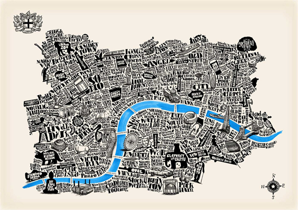 Art typographical map London