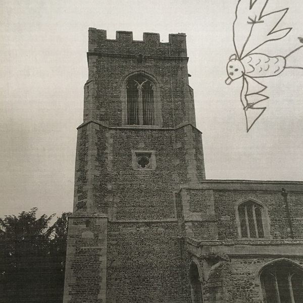 Drawing on a old photo of the church - drew bats using online searches for clear images as their inspiration
