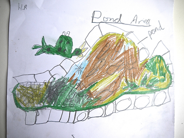 Pond area drawing by Haydn
